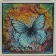 Handmade Natural Stone Ceramic Tile Drink Coasters - Set Of 6 - Butterfly 8e