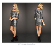 Dept Stunning Silver Sequin Cocktail Dress Large Retail 215.00