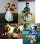 Royal Doulton Figurines Orange Lady Tuppence A Bag Balloon Sellers Penny Pick