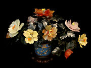 16 W Chinese Jade Rose Quartz Agate Flower Tree / Cloisonne Pot W/ Wood Stand