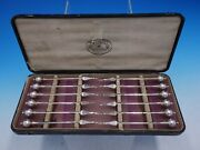 Ball End By George Sharp Sterling Silver Nut Pick Set 12pc In Box 11 X 4 1/2