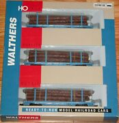 Walthers 932-34004 45' Logging Car With Logs 3-pack Georgia Pacific Gpsx