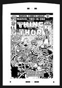 Marvel Comics Two In One 22 Large Cover Production Art Ron Wilson Thing Thor