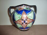 Crown Devon Delph Pottery 15.7cm 2 Handle Vase With Abstract Flower Anddesign Deco