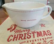 Rae Dunn Christmas Merry Christmas Red Stitch Batter / Mixing Bowl W/ Handle