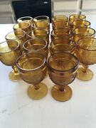 """Very Rare 18 Piece Indiana Glass Amber Daisy 4 1/2 """" Footed Cordial/juice Glass"""