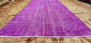 Bohemian Vintage 1950-1960 Wool Pile Fuschia Oushak Area Rug 5and0392 X 7and0399