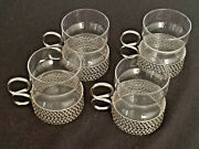 Intricate Unique Glass And Silver Mugs Coffee Cups - Set Of 4 Light And Delicate