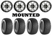 Kit 4 Carlisle All Trail Tires 25x8-12/25x10.5-12 On Frontline 556 Machined Pol