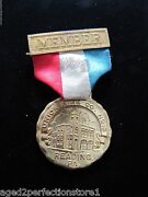 Antique Union Fire Co No 13 Reading Pa Medallion Ribbon Early 1900s Firefighting