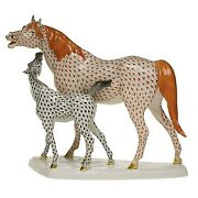 Herend Standing Foal And Mare Porcelain Figurine Rust And Black Retail 3740