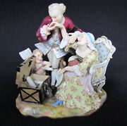 Rare Antique Meissen Porcelain Figural Group An Old Lady And A Gallant