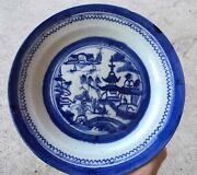 Antique Chinese Export Canton Porcelain Dish Plate Cobalt Blue Hand Painted