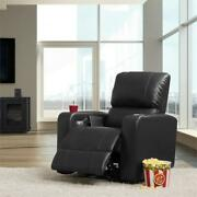 Corliving Black Leather Gel Home Theater Single Power Recliner