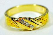 Gold Nugget Men's Ring Orocal Rmaj036d Genuine Hand Crafted Jewelry - 14k Cast