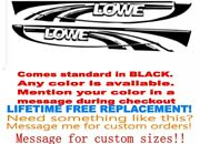 Pair Of 11x96 Lowe Boat Hull Graphics Decals Marine Grade. Your Color Choice.