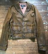 Rrl Authentic With Studs Native Leather Jacket Mens Size 2 Used