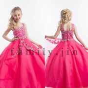 Pageant Dress Rhinestone Crystal Beads Formal Ball Gown Flower Girls Dresses
