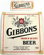 Vintage Gibbons The Lion Wilkes-barre Beer Label Pennsylvania Pa Dated 1937 12oz