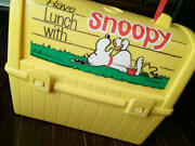 Snoopy Lunch Box Retro Antique Yellow Rare From Japan Free Shipping