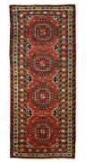 Vintage Tribal Oriental Balouch Runner Rug 4and039x9and039 Red Hand-knotted Wool Pile