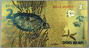 Brazil Colored Gold 2 Reais Banknote Golden Foil Souvenir Note With Sea Turtles