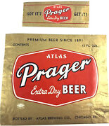 Vintage Atlas Prager Extra Dry Beer Label 12oz Chicago Illinois With Neckband