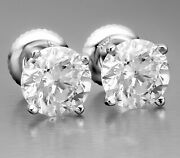 1.55 Ct Certified Evs1 Round Cut Natural Diamond Stud Earrings 14k White Gold