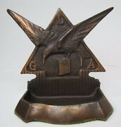 Antique L-g-a Advertising Decorative Arts Tray Card Tip Trinket Cast Iron Copper