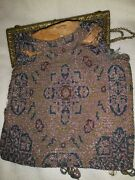 Antique 1920s French Glass Beaded And Gold Chain Flapper Clutch Purse