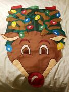 Rudolph The Red Nose Reindeer Flag With Christmas Lights Outdoor Decor
