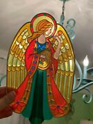 Vintage Hallmark Christmas Angel Acrylic Tree Topper Ornament Stained Glass Look