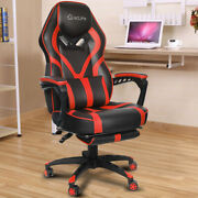 Ergonomic Office Computer Gaming Chair Racing High Back Pu Massage Footrest Red