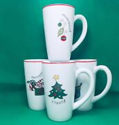 Gourmet Fitz And Floyd Happy Holidays Tall Mugs Set Of 4 Christmas Coffee Cup