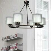 Canyon Home 6 Bulb Wagon Wheel Light Fixture With Glass Shades Dimmable Option