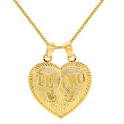 14k Yellow Gold And039te Amoand039 Split Heart Pendant With Yellow Goldwheat Chain