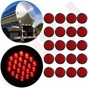 20x Red 24led Stop Turn Tail Brake 4 Round Lights For Kenworth Peterbilt Rubber