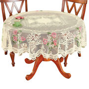 Polyester Round Tablecloth Vintage Floral Table Cover Large Doilies White 60inch