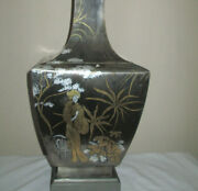 Japanese Mixed Metal Table Lamp With Etched Geisha In Silver, Bronze Copper Tone