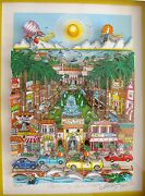 Charles Fazzino Perfectly Palm Beach Framed Hand Signed 3-d Serigraph Florida