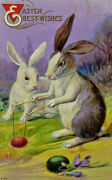 Best Easter Wishes Rabbits Anthropomorphic Embossed 1915 Postcard A3