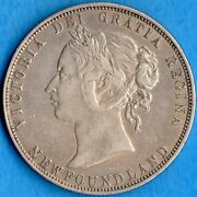 Canada Newfoundland 1874 50 Cents Fifty Cents Silver Coin - Ef Cleaned