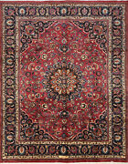 Vintage Oriental Mashhad Rug 10and039x12and039 Wine/blue Hand-knotted Wool Pile