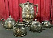 Aesthetic Victorian Reed And Barton Hammered Silver Plate Tea Set