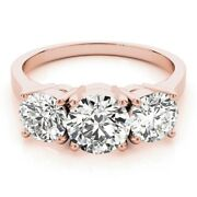 1.10ct Real Diamond Solitaire Three Stone Engagement Ring Solid 18 K Rose Gold