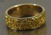 Menand039s Gold Nugget Ring Orocal Rm8mm Genuine Hand Crafted Jewelry - 14k Casting