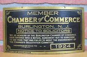 1924 Notice To Solicitors Chamber Of Commerce Burlington Nj Brass Ad Sign