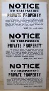 Notice No Trespassing Hunting Fishing Berry Picking Sign Act Of 1943 Private
