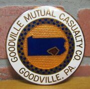 Goodville Mutual Casualty Co Pa Advertising License Plate Topper Auto Sign Nos