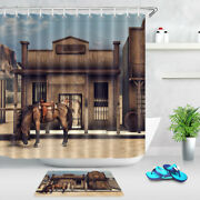 Wild West Cowboy Horse And Wooden House Bank Shower Curtain Set Bathroom Decor